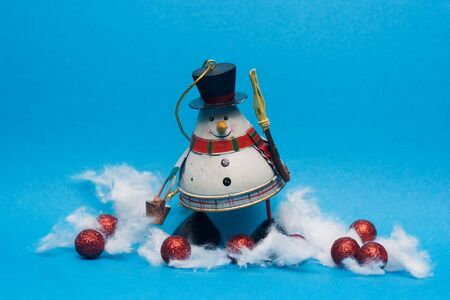 christmas decoration - snowman against the blue background Stock Photo - 3780445