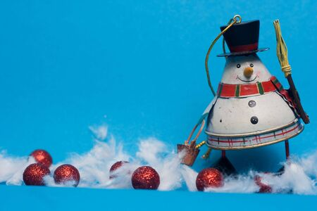 christmas decoration - snowman against the blue background Stock Photo - 3784673