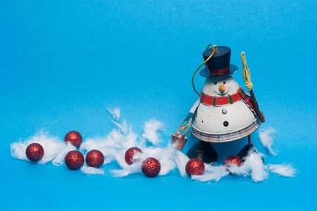 christmas decoration - snowman against the blue background Stock Photo - 3827450