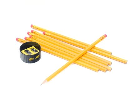 peeling rubber: yellow pencils with ereaser isolated on white
