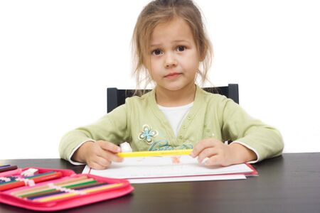 cute little girl drawing a picture on white Stock Photo - 3940679