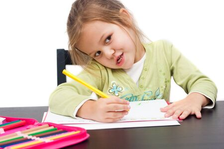 cute little girl drawing a picture on white Stock Photo - 3940687