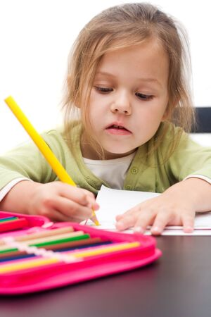 cute little girl drawing a picture on white Stock Photo - 3940690