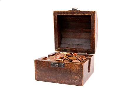 A wooden ancient chest full of money   photo