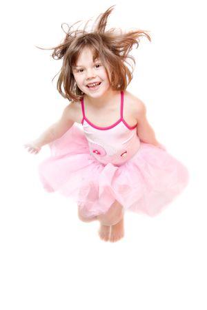 little ballerina wearing tutu isolated on white