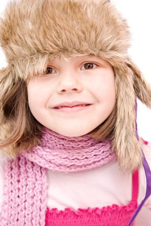 little girl wearing cap  isolated on white photo