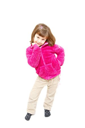 little girl wearing pink jacket isolated on white