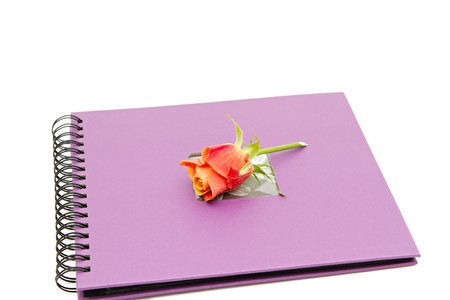 classic violet photo album isolated on white photo