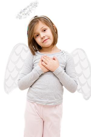 little girl dressed like angel isolated on white photo