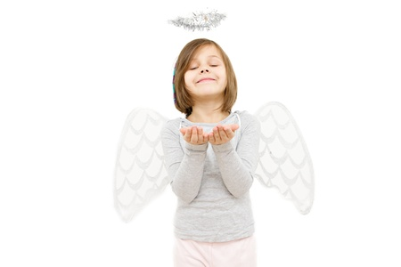 little girl dressed like angel isolated on white