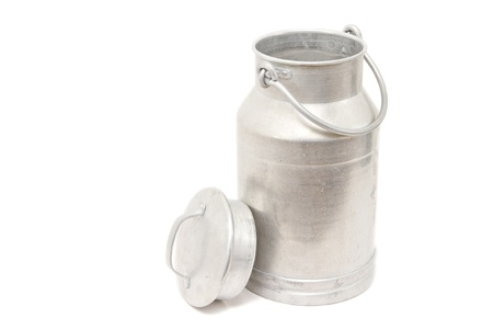 old container: a vintage milk can isolated on white Stock Photo