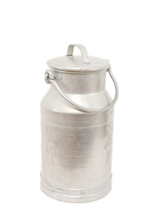 a vintage milk can isolated on white Stock Photo