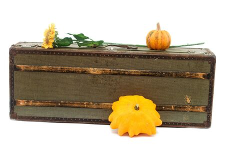 old suitcase and decorative pumpkins isolated on white photo