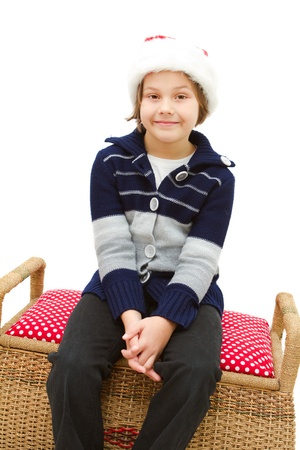 little girl dressed like a santa claus  photo