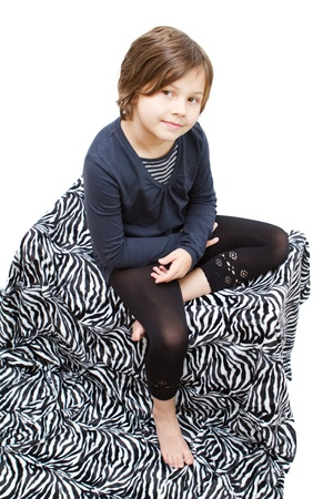 8 years old girl isolated on white photo