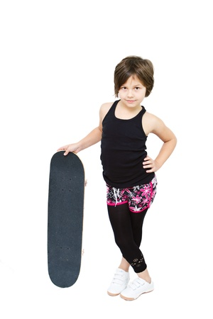 8 years old girl isolated on white Stock Photo - 12659773