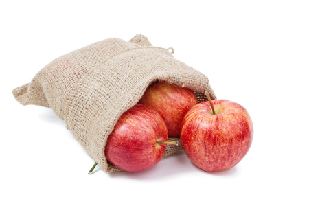 sackful: the apples in the sack isolated on white Stock Photo