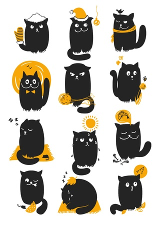 Playful cat in different months of year. Illustration