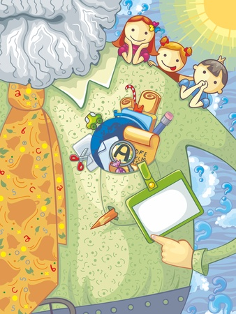 Illustration of teacher, schoolchildren and school elements. With space for your text.