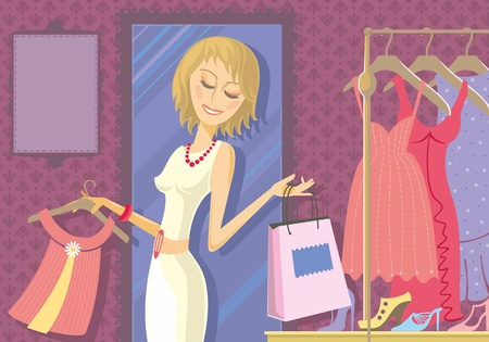Illustration of woman buying clothes in store. Dresses and footwear in the background. With space for your text.  Vector