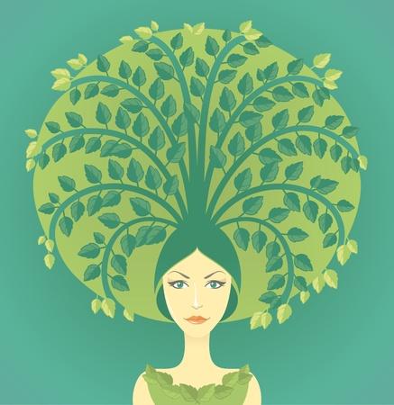 baum pflanzen: Frau mit Miniatur-Baum w�chst aus ihren Haaren. Konzeptionelle Darstellung �ber die Erhaltung der Umwelt, B�ume zu pflanzen, beginnend neues Leben.