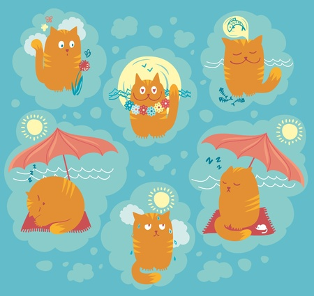 Playful cats on summer holidays  Vector