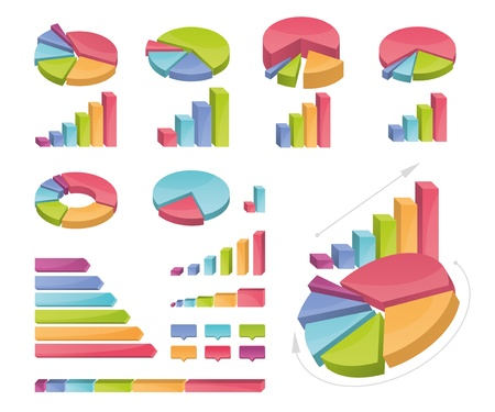 Icons of various charts and diagrams  All made with bright gradients  Objects organized in groups