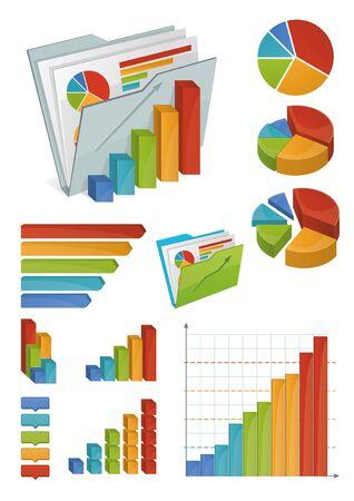 staaf diagram: Iconen van de diverse grafieken, diagrammen en grafieken Allemaal gemaakt met lichte hellingen Objecten georganiseerd in groepen