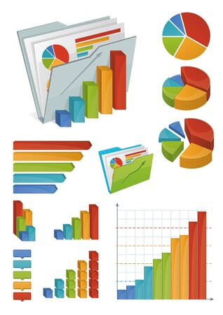 Icons of various charts, diagrams and graphs  All made with bright gradients  Objects organized in groups