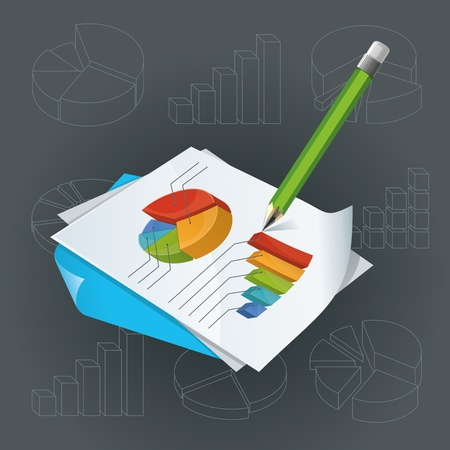 pensil: Vector illustration of bright colourful charts  Green pencil for notes  Various charts and diagrams on background   Objects organized in layers  Illustration