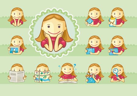 Set of icons with cute girls for web menu etc  Background on separate layer
