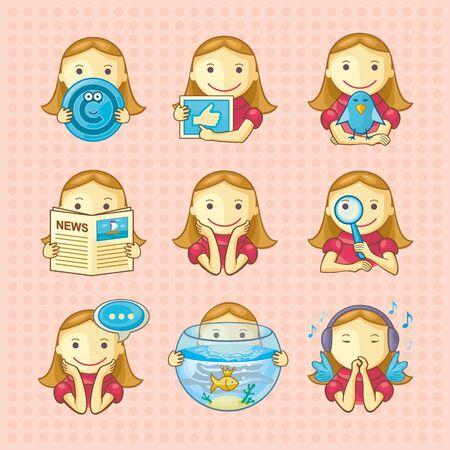 Set van sociale pictogrammen met mooie meisjes Achtergrondinformatie over aparte laag