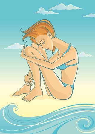 Vector Illustration of young woman sitting on beach  Waves and clouds on background  Objects organized in layers