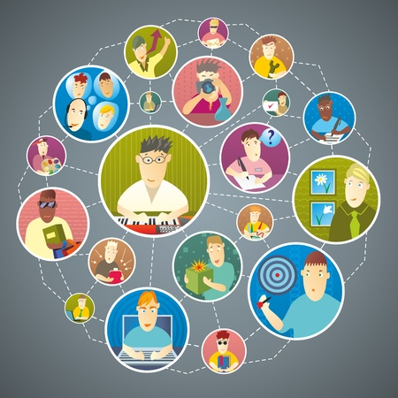 Group of people who are in contact via social media   Vector