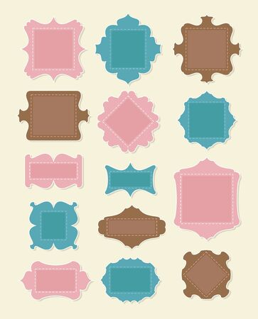 Set of scrapbooking elements. Put your text inside frames. Illustration