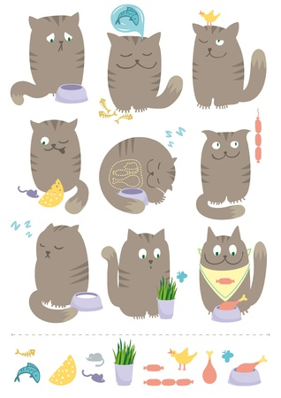 Сute and playful cats are eating, hunting, sleeping, dreaming about foods. Vector