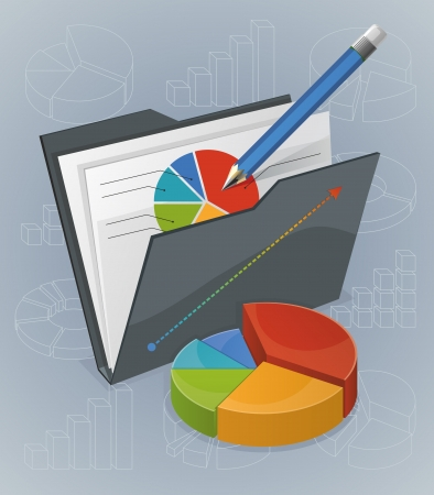 illustration of bright colourful charts. Blue pencil for notes. Various charts and diagrams on background.   Objects organized in layers. Illustration