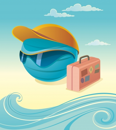 Vector illustration of terrestrial globe with peaked cap, sun glasses and suitcase. Waves and clouds on background. Touristic concept. Objects organized in layers.
