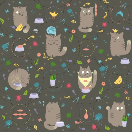 cat fish: Vector seamless pattern with cute and playful cats are eating, hunting, sleeping, dreaming about foods.