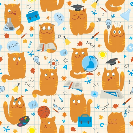 Vector seamless pattern with clever cute cats studing various school subjects. Objects organized in groups. Background on separate layer.
