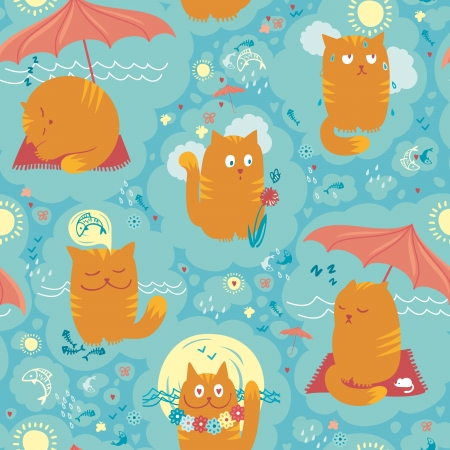 Vector seamless pattern with playful cats on summer holidays. Stock Vector - 14126160