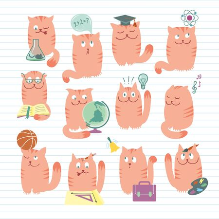 conceptual illustration with clever cute cats studing various school subjects. Objects organized in groups. Background on separate layer. Stock Vector - 14228154
