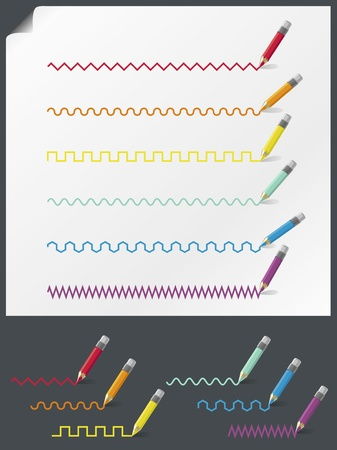 Collection of color pencils drawing various lines. On white and dark-grey background.