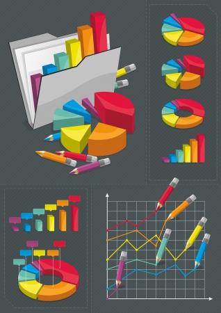 Collection of infographics elements and conceptual illustration. Illustration