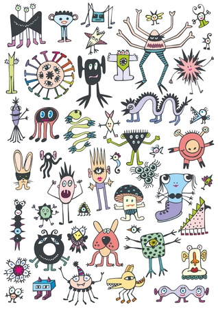 Collection of cute unusual coloured monsters on white background. Hand drawn and vectored.