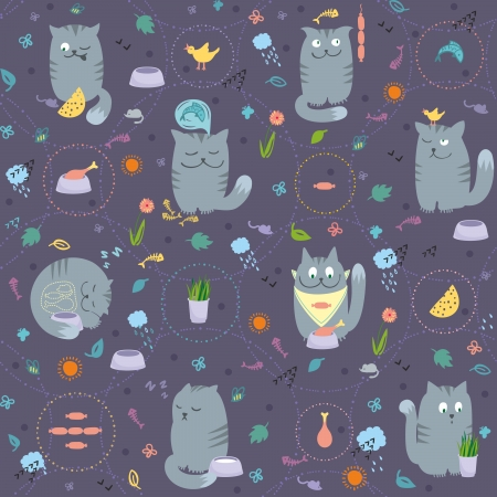 Vector seamless pattern with cute and playful cats are eating, hunting, sleeping, dreaming about foods. Vector