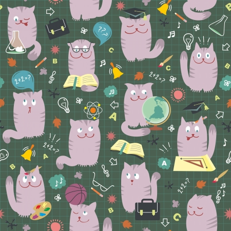studing: seamless pattern with clever cute cats studing various school subjects.