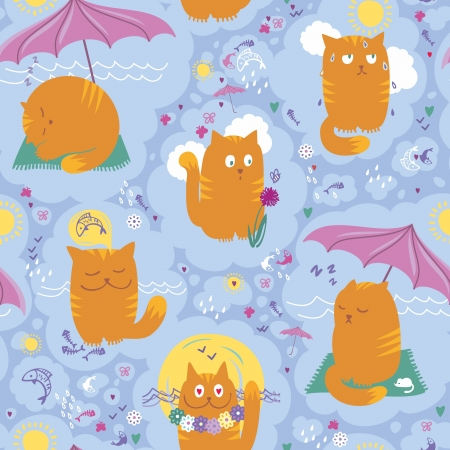 seamless pattern with playful cats on summer holidays. Vector