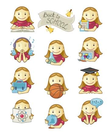 Linda niña de la escuela establece iconos en el fondo blanco. Mano el texto escrito.
