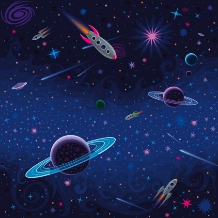 Vector patrón espacial perfecta con diversos elementos cósmicos.